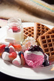 Baked waffle with marshmallow and ice-cream Stock Photography