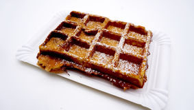 Baked waffle with sugar Royalty Free Stock Photos