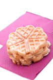 Baked waffles. Sweet sugared brown baked waffles stock images