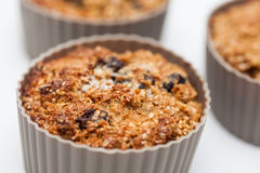Baked wheat bran muffins in a silicone baking cup Royalty Free Stock Photos