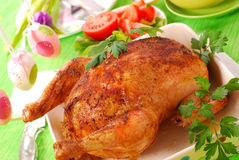 Baked whole chicken Stock Images