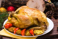Baked whole chicken with a garnish of potatoes and tomatoes. On a plate. Christmas decoration stock photos