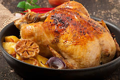 Baked whole chicken with potatoes Royalty Free Stock Photos