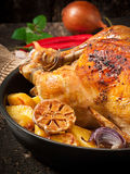 Baked whole chicken with potatoes Royalty Free Stock Image