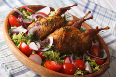 Baked whole quail and fresh vegetables close-up. Horizontal. Baked whole quail and fresh vegetables close-up on a plate. Horizontal Royalty Free Stock Photo