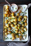 Baked young potatoes and chopped greens Stock Image