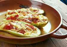 Baked zucchini boats and minced Royalty Free Stock Images