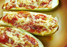 Baked zucchini boats and minced Stock Photos