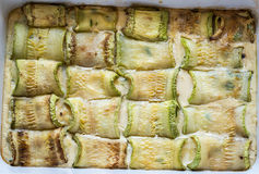 Baked zucchini rolls Royalty Free Stock Images