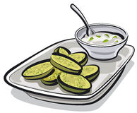 Baked zucchini with sauce Stock Photo