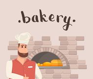 Bakehouse banner in cartoon style. Bakehouse banner with happy bearded man baker in chef hat standing near bakery oven. Traditional cooking of natural and tasty royalty free illustration