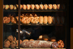 Bakehouse. The bread in the bakery and showcase the kinds of stock photo
