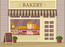 Bakehouse building or bakery store, shop exterior. Building for bakery shop or store. Bakehouse showcase with bread and cake, baguette. Outdoor view at bakeshop royalty free illustration