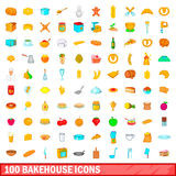 100 bakehouse icons set, cartoon style. 100 bakehouse icons set in cartoon style for any design vector illustration Stock Photo