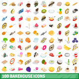 100 bakehouse icons set, isometric 3d style. 100 bakehouse icons set in isometric 3d style for any design vector illustration Stock Photo