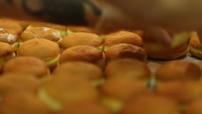 Bakehouse. Preparation of cream buns. stock video