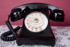 Bakelite French Phone. 1950s French bakelite telephone with French text Royalty Free Stock Photo