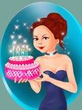 Bakelseflicka- och för födelsedagkaka flicka med pajen, födelsedagkakan och den gulliga flickan, kaka, födelsedag, hälsningkort,  royaltyfri illustrationer