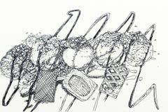 Bakelsesötsaker med kräm och frukt, bakelser, kakor och kräm- puffs Arkivfoto