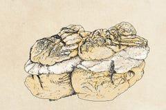 Bakelsesötsaker med kräm och frukt, bakelser, kakor och kräm- puffs Royaltyfria Bilder