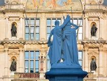 Baken av `en för `-Jan Frans Willem staty på fyrkanten för St Baafs, ghent Arkivfoto