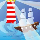 Baken en het schip in een woedende overzees. Stock Afbeeldingen