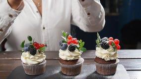 Baker που διακοσμεί το νόστιμο cupcake Ζάχαρη τήξης που ψεκάζεται στο κέικ απόθεμα βίντεο
