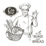 Baker που φέρνει ένα καλάθι με το ψωμί Στοκ φωτογραφίες με δικαίωμα ελεύθερης χρήσης