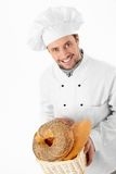 Baker. Of bread on a white background royalty free stock images