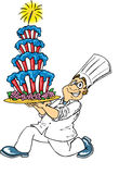 Baker and American Cake. Baker carrying and American style cake vector illustration