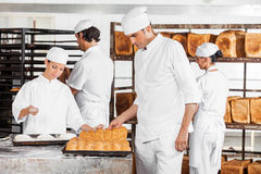 Baker Analyzing Breads While Colleagues Working In Bakery Royalty Free Stock Images