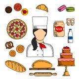 Baker avec du pain et des pâtisseries a coloré l'icône de croquis Image stock