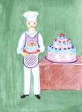Baker avec le gâteau, dessinant Images libres de droits