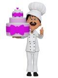 Baker avec un gâteau, 3d Photos stock