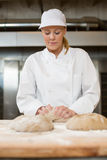 Baker in bakehouse or bakery kneading dough Royalty Free Stock Image