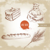 Baker with baker basket of fresh bread, fresh baguette, cream cake and wheat bunch. Hand drawn set bakery illustrations. Baker with baker basket of fresh bread vector illustration