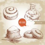 Baker with baker basket of fresh bread, sesame bagels, iced sweet cinnamon bun and sack with whole flour with wheat bunch. Hand drawn set bakery illustrations Royalty Free Stock Photos