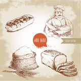 Baker with baker basket of fresh bread, sliced bread loaf, sweet french cake eclair and sack with whole flour with wheat bunch. Hand drawn set bakery Stock Photography