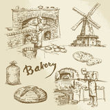 Baker, bakery, bread royalty free illustration