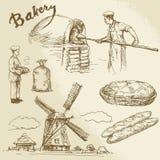 Baker, bakery, bread. Hand drawn set royalty free illustration