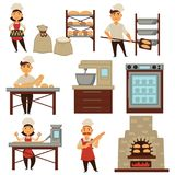 Baker in bakery shop baking bread process vector isolated profession people icons. Baker in bakery shop baking bread isolated profession people icons. Vector set vector illustration