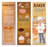 Bakery bread, desserts and baker vector banners. Baker and bakery shop or pastry in bakehouse. Vector design of baker man at work with baked bread, sweet royalty free illustration