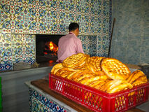 Baker bakes traditional flatbread, Turkey Royalty Free Stock Photography