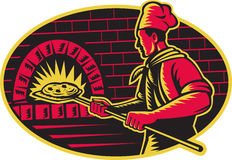 Baker Baking Pizza Wood Oven Woodcut. Illustration of a baker with long handled bread pan  baking pizza into wood fire oven done in retro woodcut style set Royalty Free Stock Photography