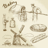 Baker, bakkerij, brood royalty-vrije illustratie