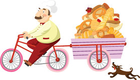 Baker on a bicycle. Baker rides a bicycle and carries a cart of baked goods. Isolated on white vector illustration