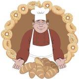 Baker biedt het brood of de broodjes aan Stock Foto