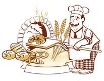 Baker bij de oven Stock Afbeelding