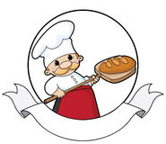 Baker with bread banner. Illustration of a baker with bread banner Royalty Free Stock Photos