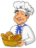 Baker with bread basket. Cook - baker in a cap with a basket of tasty newly baked bread Royalty Free Stock Photos